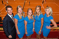 April 16, 2015, Netherlands, Den Bosch, Maaspoort, Fedcup Netherlands-Australia,  Official Dinner, Dutch Team l.t.r.: Captain Paul Haarhuis, Kiki Bertens, Richel Hogenkamp, Arantxa Rus and Micha&euml;lla Krajicek<br /> Photo: Tennisimages/Henk Koster