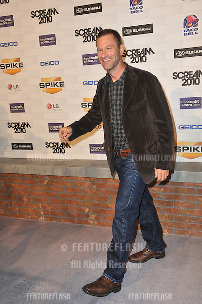 Aaron Eckhart at Spike TV's 2010 Scream Awards at the Greek Theatre, Griffith Park, Los Angeles..October 16, 2010  Los Angeles, CA.Picture: Paul Smith / Featureflash
