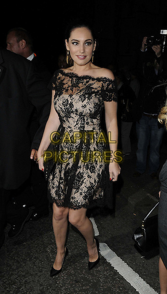 Kelly Brook.at the Philip Treacy s/s 2013 catwalk show, London Fashion Week LFW Day 3, The Royal Courts of Justice, The Strand, London, England..16th September 2012.full length black lace off the shoulder dress .CAP/CAN.©Can Nguyen/Capital Pictures.