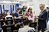 Reporters stand in the James S. Brady Press Briefing Room of the White House after being excluded from the meeting  on February 24, 2017 in Washington, DC. CNN, the New York Times and other news organizations were blocked Friday from a White House press briefing.<br /> Credit: Olivier Douliery / Pool via CNP