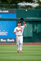 Springfield Cardinals left fielder Casey Turgeon (21) settles under a fly ball during a game against the San Antonio Missions on June 4, 2017 at Hammons Field in Springfield, Missouri.  San Antonio defeated Springfield 6-1.  (Mike Janes/Four Seam Images)