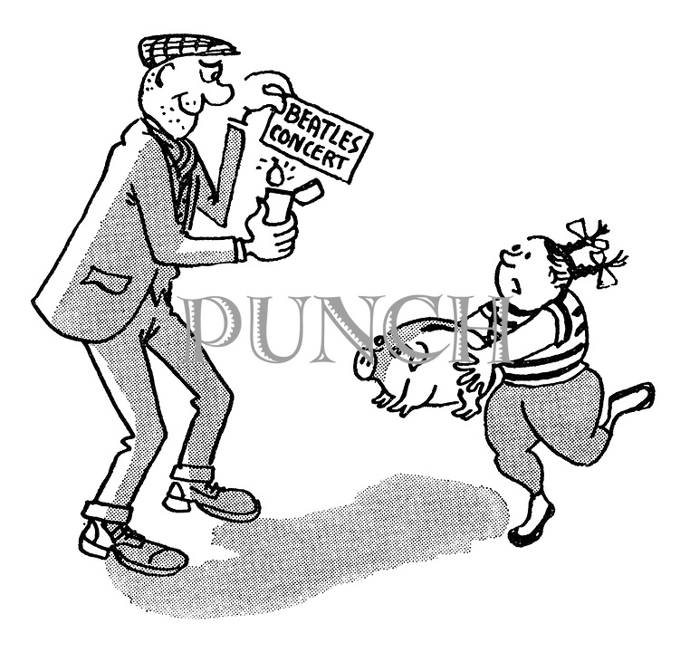 (A man holds a cigarette lighter to a Beatles' concert ticket as a young girl runs toward him with a piggy bank)