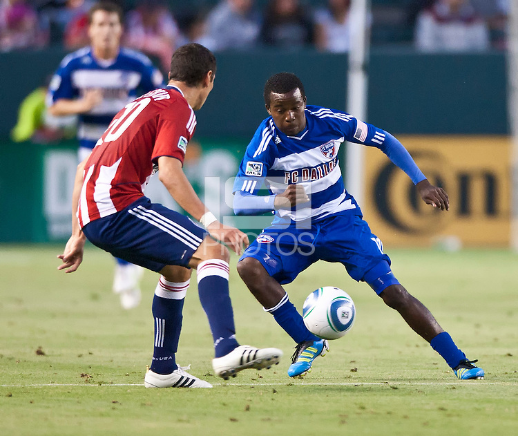 CARSON, CA – June 18, 2011: FC Dallas forward Marvin Chavez (18)  during the match between Chivas USA and FC Dallas at the Home Depot Center in Carson, California. Final score Chivas USA 1, FC Dallas 2.