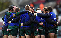 Leicester Tigers forwards huddle together during the pre-match warm-up. European Rugby Champions Cup match, between Leicester Tigers and Castres Olympique on October 21, 2017 at Welford Road in Leicester, England. Photo by: Patrick Khachfe / JMP