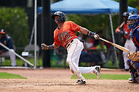GCL Astros Rolando Espinosa (10) at bat during a Gulf Coast League game against the GCL Mets on August 10, 2019 at FITTEAM Ballpark of the Palm Beaches Training Complex in Palm Beach, Florida.  GCL Astros defeated the GCL Mets 8-6.  (Mike Janes/Four Seam Images)