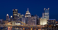 Downtown Pittsburgh glowed at dusk as Notre Dame prepared to play yet another 8pm start.