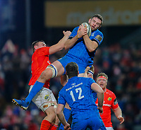 28th December 2019; Thomond Park, Limerick, Munster, Ireland; Guinness Pro 14 Rugby, Munster versus Leinster; Josh Murphy of Leinster collects the high ball - Editorial Use