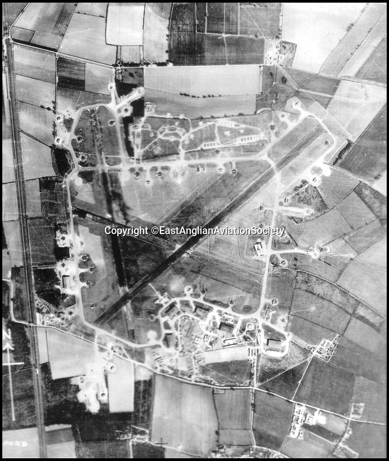 BNPS.co.uk (01202 558833)Pic: EastAnglianAviationSociety/BNPS<br /> <br /> An 1944 aerial shot of RAF Tempsford, the air field from which most women agents were flown. <br /> <br /> A new book reveals the heroic and often tragic stories of the brave female SOE operatives who were dropped into occupied France during WW2.<br /> <br /> The courageous women, who new capture was almost certain death, acted as couriers, carried weapons, helped identify bombing targets, found places for planes to land and established safe houses.<br /> <br /> But of the 36 French women who returned to their homeland to work with the Resistance, a third were captured and 10 of them were executed. <br /> <br /> The immense bravery and sacrifice of these women is highlighted by historian Bernard O'Connor in his new book, SOE Heroines.