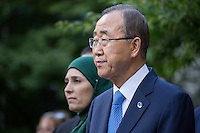 NEW YORK CITY, UNITED STATES SEPTEMBER 16, 2016: United Nations Secretary General Ban Ki-moon speaks during the Peace Bell Ceremony to commemorate the International Day of Peace September at the United Nations in New York. Photo by VIEWpress/Maite H. Mateo