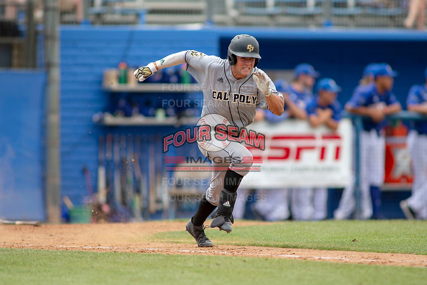 Cal Poly San Luis Obispo Mustangs Kyle Marinconz (4) hustles down the first base line against the UC-Riverside Highlanders at Riverside Sports Complex on May 26, 2018 in Riverside, California. The Cal Poly SLO Mustangs defeated the UC Riverside Highlanders 6-5. (Donn Parris/Four Seam Images)