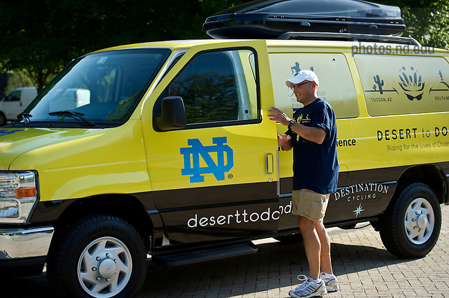 University of Notre Dame College of Science dean Greg Crawford gets into a support van that will follow Dean Crawford and his wife Renate as they bike from Tucson, AZ to Notre Dame in July and August of 2010 to raise awareness of Notre Dame's new partnership with the Ara Parseghian Medical Research Foundation...Photo by Matt Cashore/University of Notre Dame