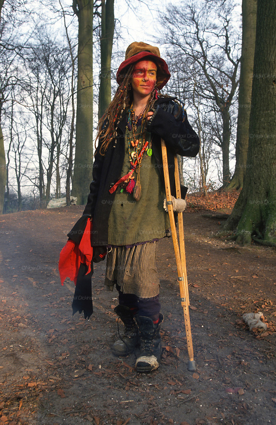 Helen in the woods at St Catherine's Hill encampment. A Road Protest action near Twyford Down, near the Donga pathways, outside Winchester, against the M3 road extension. 1994<br />