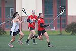 Santa Barbara, CA 02/19/11 - Laura Hunter (Utah #1) and unidentified Nevada-Reno player in action during the Utah-Nevada Reno game at the 2011 Santa Barbara Shootout.