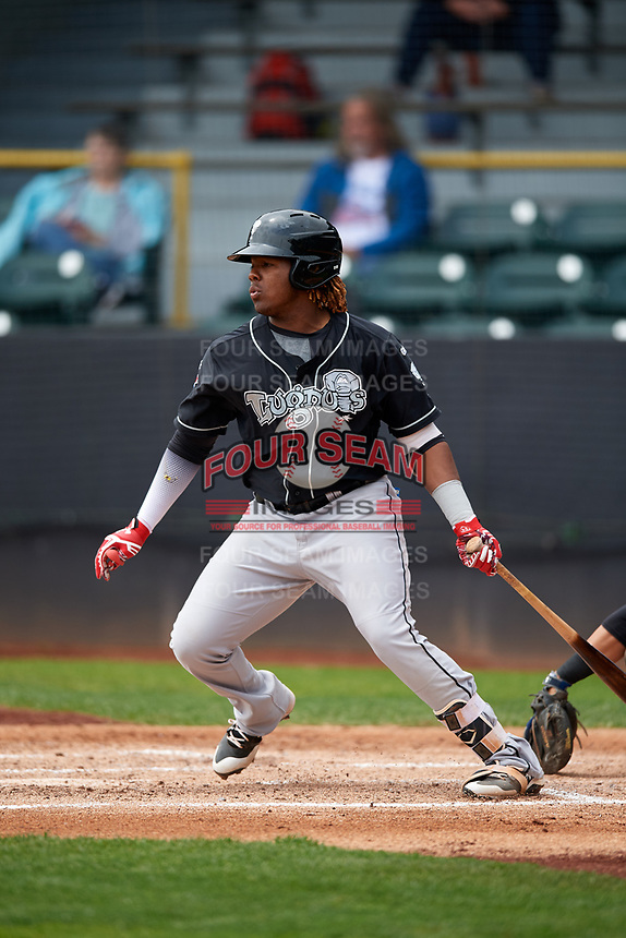 Lansing Lugnuts third baseman Vladimir Guerrero Jr. (27) follows through on a swing during a game against the Clinton LumberKings on May 9, 2017 at Ashford University Field in Clinton, Iowa.  Lansing defeated Clinton 11-6.  (Mike Janes/Four Seam Images)