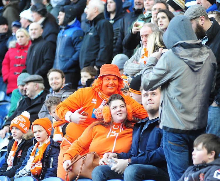 Blackpool fans pre kick off<br /> <br /> Photographer Andrew Vaughan/CameraSport<br /> <br /> Football - The Football League Sky Bet Championship - Blackburn Rovers v Blackpool - Saturday 21st February 2015 - Ewood Park - Blackburn<br /> <br /> &copy; CameraSport - 43 Linden Ave. Countesthorpe. Leicester. England. LE8 5PG - Tel: +44 (0) 116 277 4147 - admin@camerasport.com - www.camerasport.com