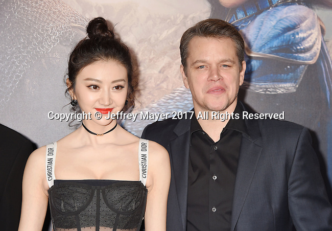 HOLLYWOOD, CA - FEBRUARY 15: Actors Jing Tian (L) and Matt Damon arrive at the premiere of Universal Pictures' 'The Great Wall' at TCL Chinese Theatre IMAX on February 15, 2017 in Hollywood, California.