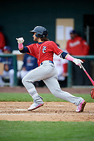New Hampshire Fisher Cats shortstop Bo Bichette (5) follows through on a swing during the first game of a doubleheader against the Harrisburg Senators on May 13, 2018 at FNB Field in Harrisburg, Pennsylvania.  New Hampshire defeated Harrisburg 6-1.  (Mike Janes/Four Seam Images)