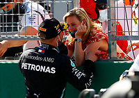 5th July 2020; Red Bull Ring, Spielberg Austria; F1 Grand Prix of Austria, Race Day;  77 Valtteri Bottas FIN, Mercedes-AMG Petronas Formula One Team, celebrates the win with his wife in Spielberg Austria