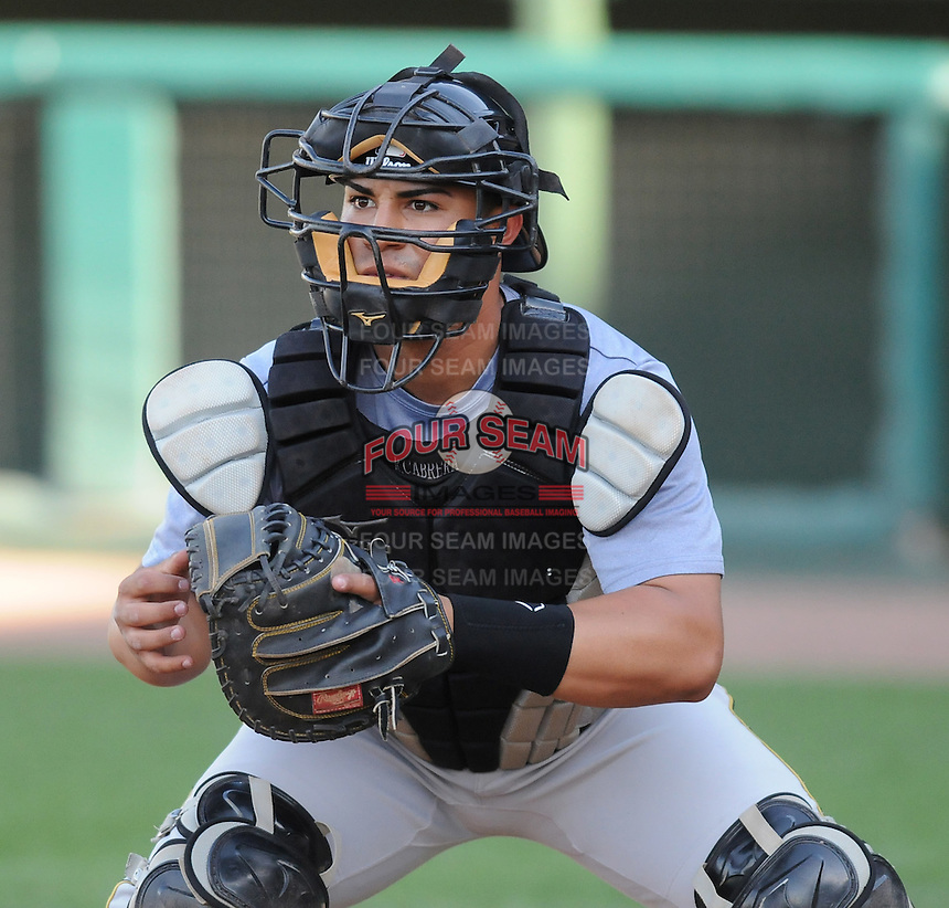 Catcher Ramon Cabrera (38)  of the West Virginia Power, Class A affiliate of the Pittsburgh Pirates, at a game against the Greenville Drive April 29, 2010, at Fluor Field at the West End in Greenville, S.C. He was named to the 2010 South Atlantic League All-Star team. Photo by: Tom Priddy/Four Seam Images