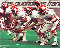 Jerry Dobrovolny, Dave Kirzinger, Wille Thomas, Calgary Stampeders 1983. Photo F. Scott Grant