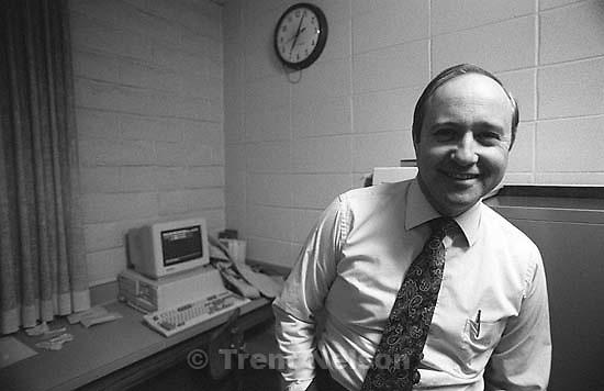 Steve Nelson in the ward clerk's office, LDS Chapel.<br />