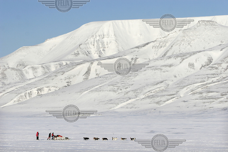 Dog sledding is offered as a tourist activity, and some locals use prefer that mode of transport over snowmobiles. The Arctic island of Spitsbergen is the largest of islands in the group that makes up Svalbard. The islands are close to the North Pole and about 60% of the land mass is covered by glaciers. The main activities are mining, tourism and Arctic research. © Fredrik Naumann