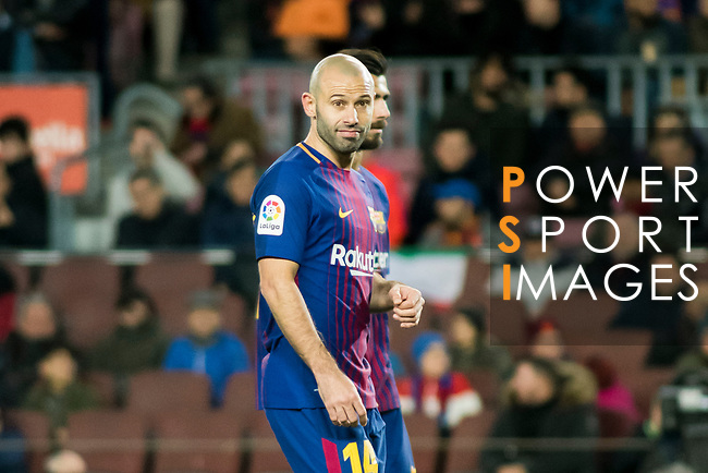 Javier Alejandro Mascherano of FC Barcelona looks on during the Copa Del Rey 2017-18 Round of 16 (2nd leg) match between FC Barcelona and RC Celta de Vigo at Camp Nou on 11 January 2018 in Barcelona, Spain. Photo by Vicens Gimenez / Power Sport Images