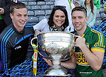 Marc O'Se celebrates with Padraig Og and Neassa O'Se after winning the 2014 All-Ireland Football Final against Donegal in Croke Park 2014.<br /> Photo: Don MacMonagle<br /> <br /> <br /> Photo: Don MacMonagle <br /> e: info@macmonagle.com