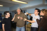 """Goofing Around - Cast left to right: Paul Wyatt, Howard Kaye, Jay Montgomery and Guiding Light's Mandy Bruno star in """"I Hate Hamlet"""" presented by the Harbor Light theater Company on November 19, 2010 at the Snug Harobr Cultural Center, Staten Island, New York. (Photo by Sue Coflin/Max Photos)"""