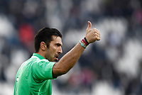 Calcio, Serie A: Juventus - Sassuolo, Torino, Allianz Stadium, 4 Febbraio 2018. <br /> Juvemtu's captain Gianluigi Buffon celebrates after winning 7-0 the Italian Serie A football match between Juventus and Sassuolo at Torino's Allianz stadium, February 4, 2018.<br /> UPDATE IMAGES PRESS/Isabella Bonotto