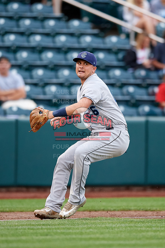 Corpus Christi Hooks third baseman J.D. Davis (26) throws to first base during a game against the Springfield Cardinals on May 31, 2017 at Hammons Field in Springfield, Missouri.  Springfield defeated Corpus Christi 5-4.  (Mike Janes/Four Seam Images)