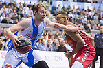 San Pablo Burgos Sebas Saiz and Gipuzkoa Basket Henk Norel during Liga Endesa match between San Pablo Burgos and Gipuzkoa Basket at Coliseum Burgos in Burgos, Spain. December 30, 2017. (ALTERPHOTOS/Borja B.Hojas)