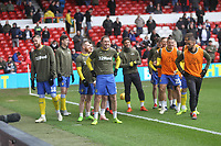 Leeds United's players warm up<br /> <br /> Photographer Mick Walker/CameraSport<br /> <br /> The EFL Sky Bet Championship - Nottingham Forest v Leeds United - Tuesday 1st January 2019 - The City Ground - Nottingham<br /> <br /> World Copyright &copy; 2019 CameraSport. All rights reserved. 43 Linden Ave. Countesthorpe. Leicester. England. LE8 5PG - Tel: +44 (0) 116 277 4147 - admin@camerasport.com - www.camerasport.com