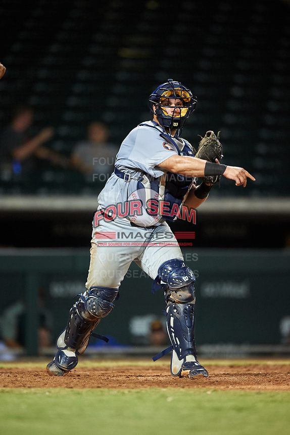 Peoria Javelinas catcher Colton Shaver (40), of the Houston Astros organization, throws to first base during an Arizona Fall League game against the Mesa Solar Sox on September 21, 2019 at Sloan Park in Mesa, Arizona. Mesa defeated Peoria 4-1. (Zachary Lucy/Four Seam Images)
