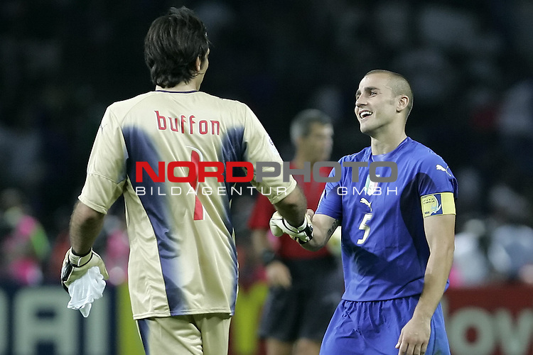 FIFA WM 2006 - Final / Finale<br /> Play #64 (09-Jul) - Italy vs France.<br /> <br /> BUFFON Gianluigi (GK) - CANNAVARO Fabio<br /> <br /> Italy is World Champion / Weltmeister 2006 mit dem Pokal / Trophy after the match of the World Cup in Berlin.<br /> <br /> <br /> Foto &copy; nordphoto