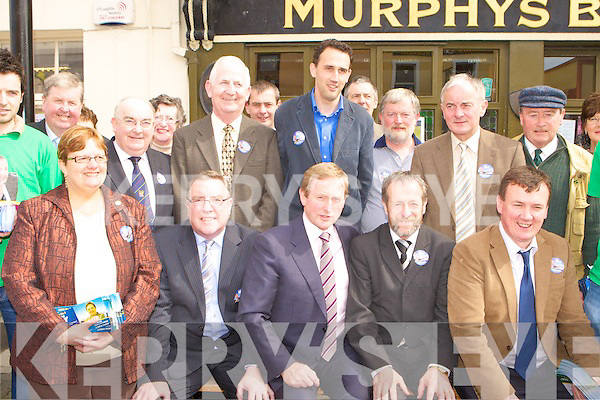 Fine Gael leader Enda Kenny with his collegues in Killarney on Saturday front row Sheila Casey, Bobby O'Connell, Enda Kenny, Sean Kelly, John Sheahan. Back row: Senator Paul Coughlan, Patrick O'Connor Scarteen, Cllr: Patrick McCarthy.