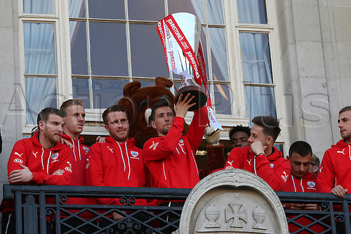 07.04.2016. Barnsley, England. Barnsley FC Johnstones Paint Trophy winners celebrations and parade. Barnsley FC captain Conor Hourihane lifts the Trophy