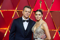 www.acepixs.com<br /> <br /> February 26 2017, Hollywood CA<br /> <br /> Actor Matt Damon (L) and Luciana Barroso arriving at the 89th Annual Academy Awards at Hollywood &amp; Highland Center on February 26, 2017 in Hollywood, California.<br /> <br /> By Line: Z17/ACE Pictures<br /> <br /> <br /> ACE Pictures Inc<br /> Tel: 6467670430<br /> Email: info@acepixs.com<br /> www.acepixs.com