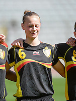 20140407 - BRUSSELS , BELGIUM : Belgian Margaux Van Ackere pictured during the female soccer match between CZECH REPUBLIC U19 and BELGIUM U19 , in the second game of the Elite round in group 4 in the UEFA European Women's Under 19 competition 2014 in the Koning Boudewijn Stadion , Monday 7 April 2014 in Brussels . PHOTO DAVID CATRY