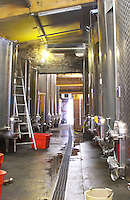 Domaine d'Aupilhac. Montpeyroux. Languedoc. Stainless steel fermentation and storage tanks. France. Europe.
