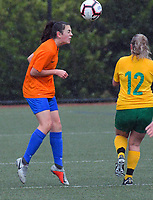 Action from the Capital Football women's premier league match between Victoria University Women's reserves and Wellington United Sapphires at Boyd Wilson Park in Wellington, New Zealand on Sunday, 23 June 2019. Photo: Dave Lintott / lintottphoto.co.nz