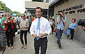 "Anthony Weiner is seen leaving after a spot on his"" Keys To The City Tour"" on Wednesday, August 7, 2013 in New York. (AP Photo/ Donald Traill)"