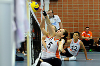 ASSEN - Volleybal, Internationaal zitvolleybal toernooi, Nederland - Rusland, 01-07-2017,  Karin van der Haar tikt de bal over het net