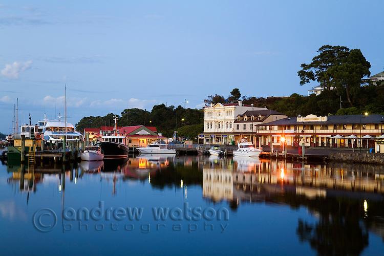 The harbour township of Strahan at dawn.  Strahan, Tasmania, AUSTRALIA
