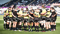 Ospreys team huddle during the pre match warm up<br /> <br /> Photographer Simon King/CameraSport<br /> <br /> Guinness PRO12 Round 19 - Ospreys v Leinster Rugby - Saturday 8th April 2017 - Liberty Stadium - Swansea<br /> <br /> World Copyright &copy; 2017 CameraSport. All rights reserved. 43 Linden Ave. Countesthorpe. Leicester. England. LE8 5PG - Tel: +44 (0) 116 277 4147 - admin@camerasport.com - www.camerasport.com