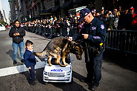 NEW YORK, USA - November 11: A K9  attends the 100 Veterans Day parade on November 11, 2019 in New York, USA. President Donald Trump, the first sitting U.S. president attended New York's parade, where he offered a tribute to veterans ahead of the 100th annual parade  (Photo by Eduardo MunozAlvarez/VIEWpress)