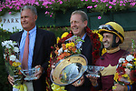 July 18, 2015: Sheer Drama, Joe Bravo up, wins the Grade I Delaware Handicap, one and 1/4 miles for fillies and mares 3 and upward at Delaware Park in Stanton DE.  Trainer is David Fawkes (at center in the photo); owner is Harold L. Queen (not in photos.) At left is Ed Stegemeier from the racing commission.Joan Fairman Kanes/ESW/CSM