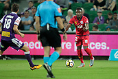 November 4th 2017, nib Stadium, Perth, Australia; A-League football, Perth Glory versus Adelaide United; Mark Ochieng from Adelaide United gestures to his team mates to come to him during the second half