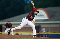 Batavia Muckdogs relief pitcher Henry McAree (39) delivers a pitch during a game against the Lowell Spinners on July 11, 2017 at Dwyer Stadium in Batavia, New York.  Lowell defeated Batavia 5-2.  (Mike Janes/Four Seam Images)