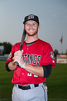Billings Mustangs catcher Jay Schuyler (36) poses for a photo prior to a Pioneer League game against the Idaho Falls Chukars at Melaleuca Field on August 22, 2018 in Idaho Falls, Idaho. The Idaho Falls Chukars defeated the Billings Mustangs by a score of 5-3. (Zachary Lucy/Four Seam Images)